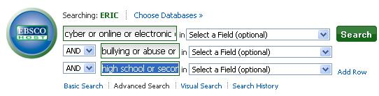 Screenshot of ERIC in EBSCO with search terms from the example chart entered in the search boxes
