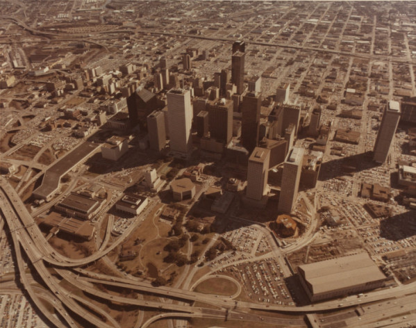 aerial photo of houston from 1970