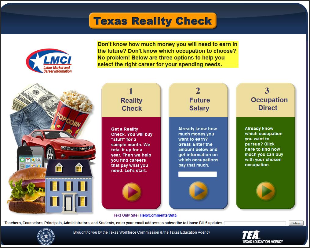 logo for Texas Reality Check website
