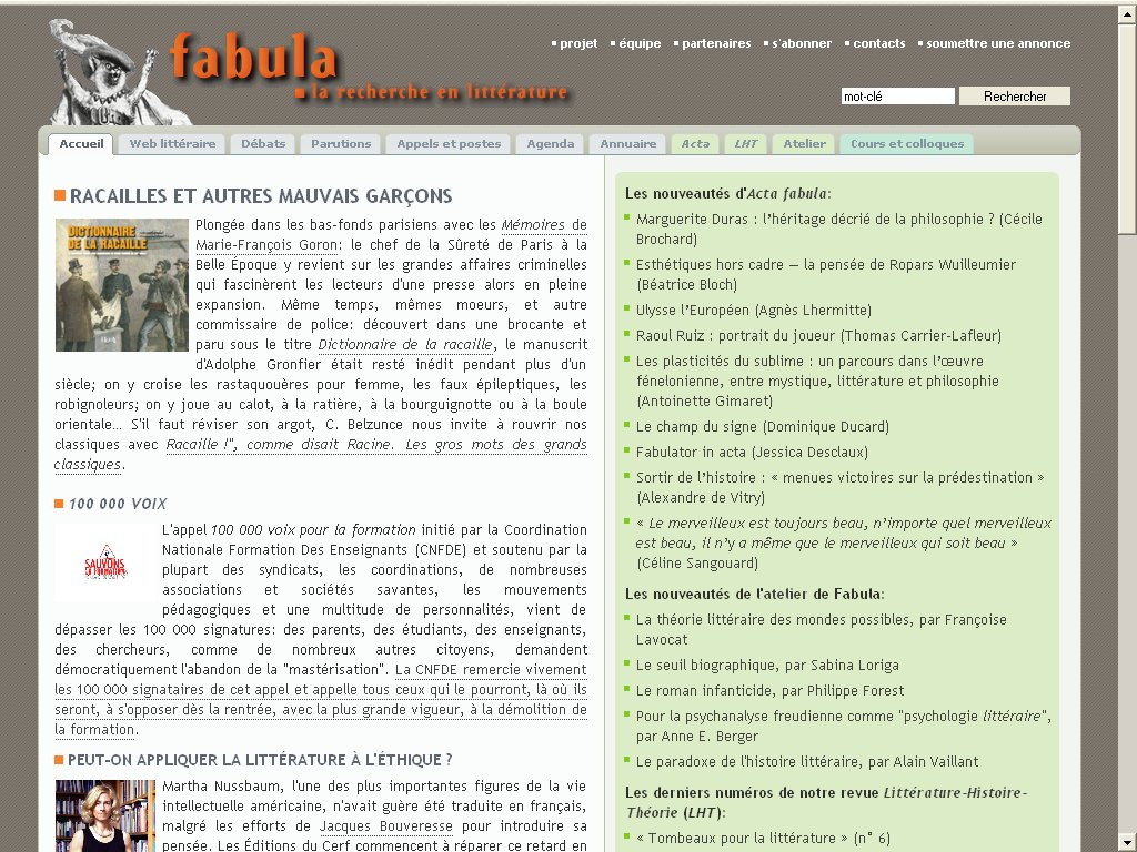 page d'accueil fabula