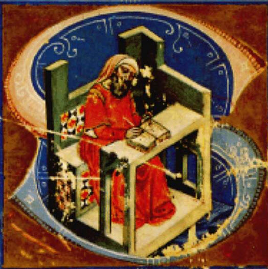 """The chronicler in the """"S"""" initial of the Illustrated Chronicle  Képes Krónika (Chronicon Pictum) I. Magyar Helikon, Budapest, 1964, p 2. (f 1b), National Széchényi Library, Budapest"""