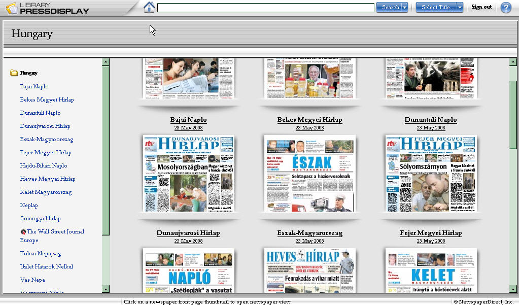 From the index page for Library PressDisplay's Hungarian newspapers