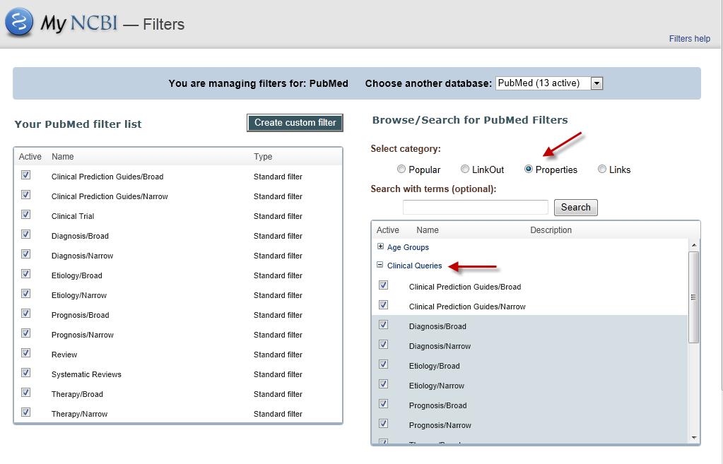 properties filters