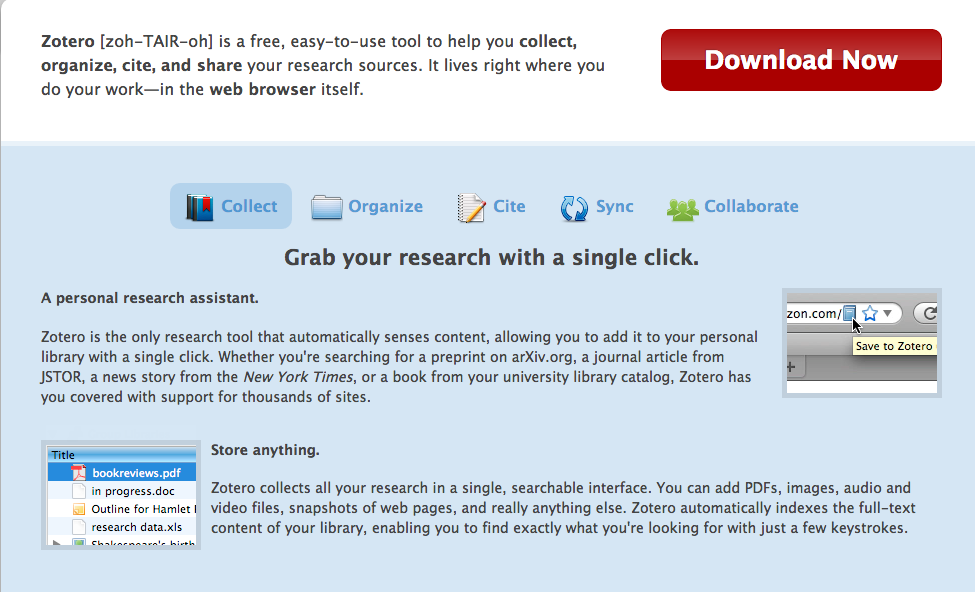Zotero website screengrab- click to go to Zotero website and download