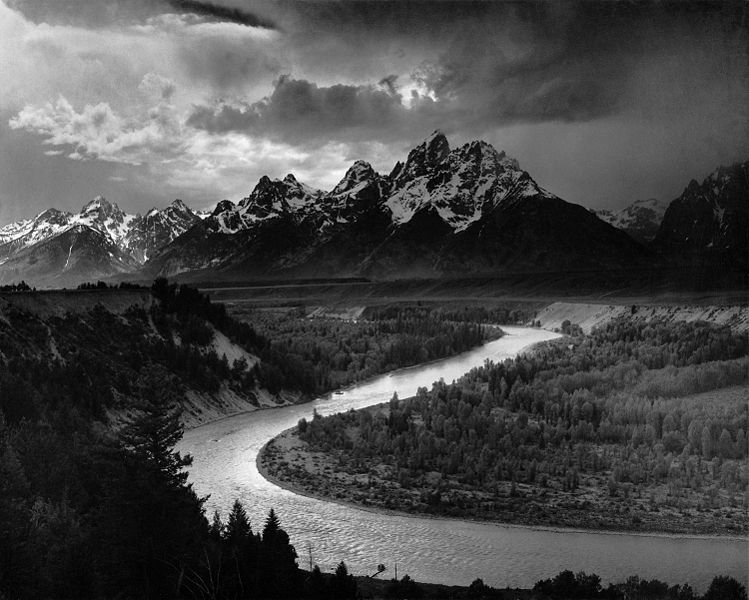 Ansel Adams photographic image of the Tetons and Snake River