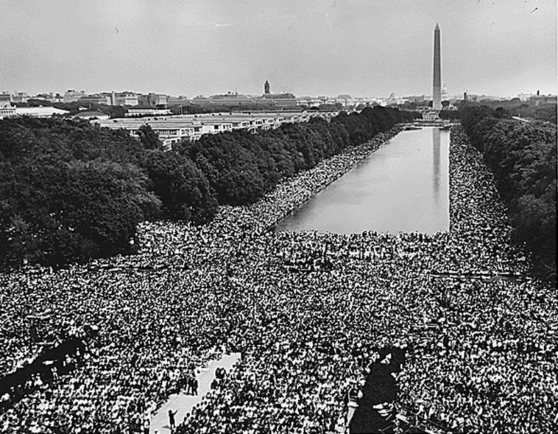 "March on Washington, August 1963.  ""US Government photo"" [http://www.marines.mil/unit/mcascherrypoint/PublishingImages/crowd%20photo%20march%20on%20washington.jpg ]"