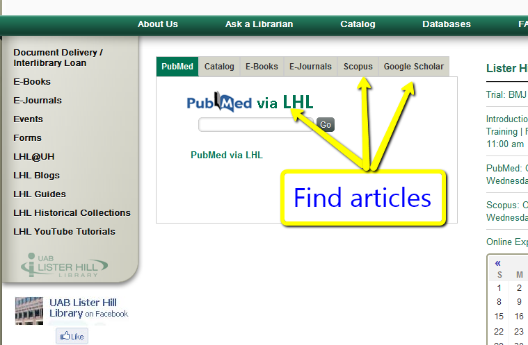 screenshot of library homepage where to find articles