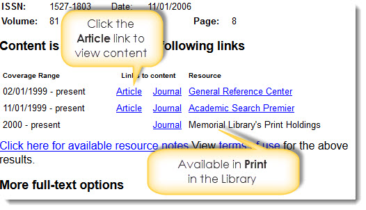 Clicking Article link on intermediary window to access article