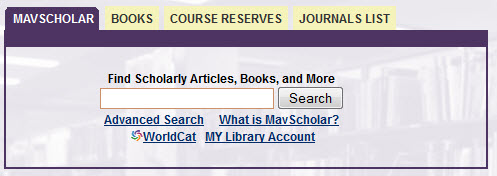 Mavscholar tab on library's web page