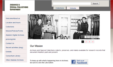 Image of Archives and Special Collections webpage