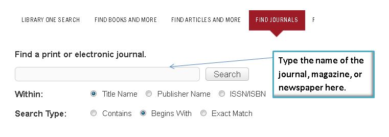 Screenshot of find journals tab