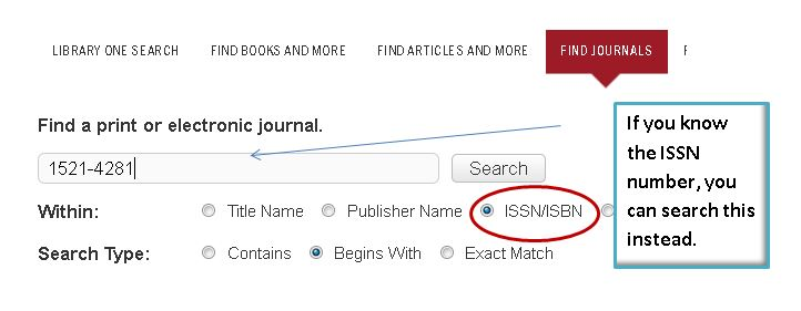 screenshot of find journal issn/isbn