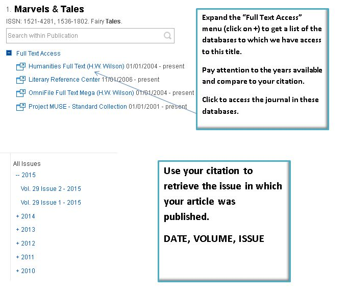 screenshot of marvels and tales search