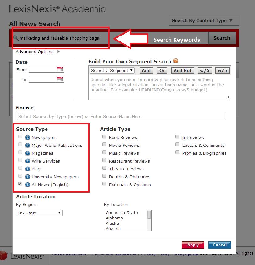 Lexis Nexis News search screen