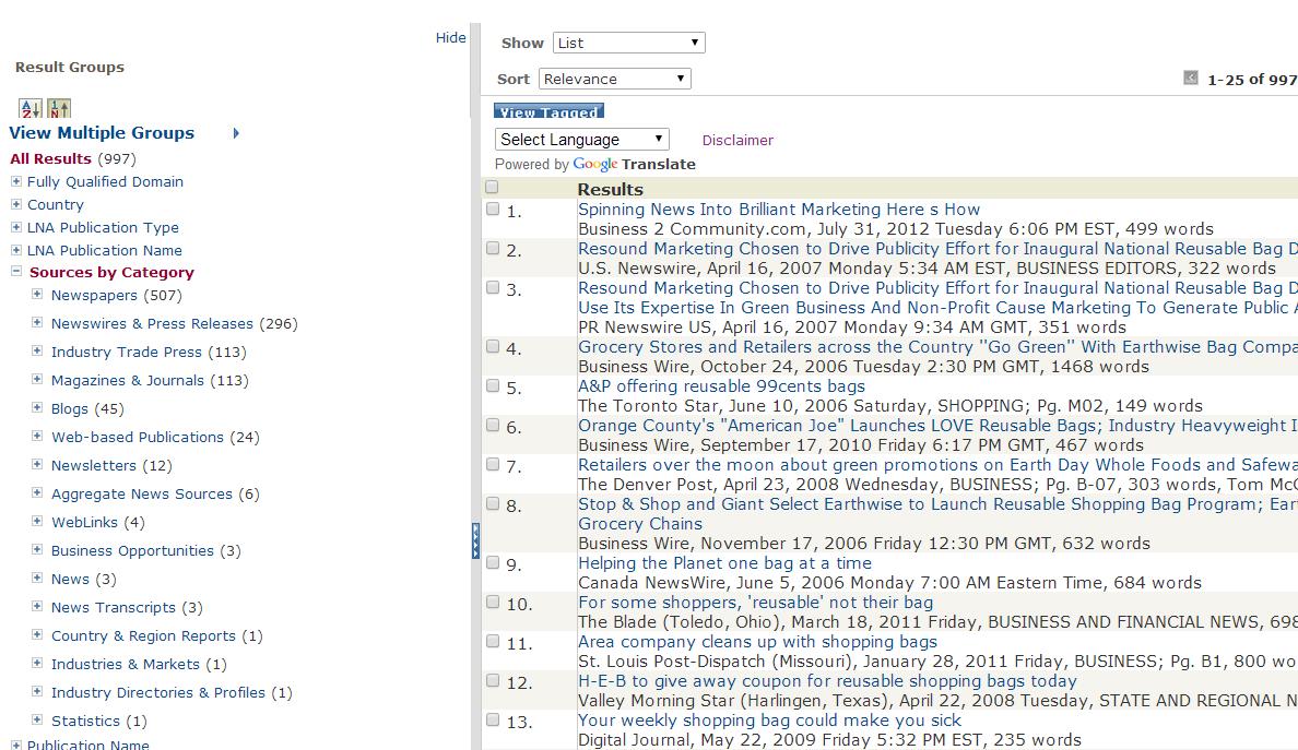Lexis Nexis search results screen