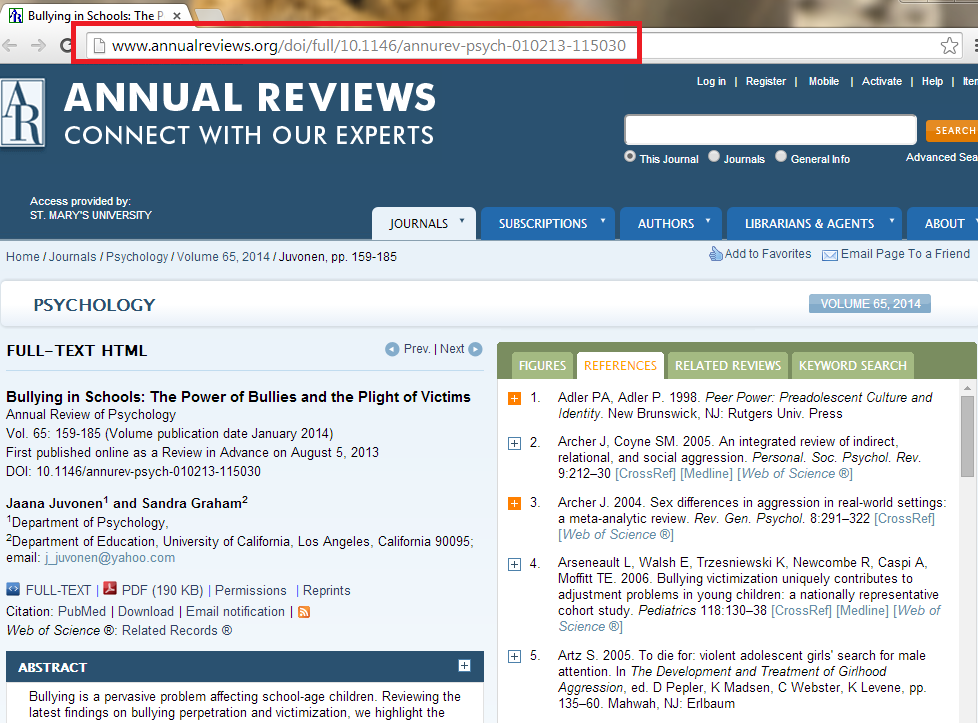 persistent link in Annual Reviews database