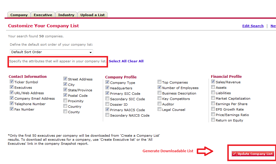 select items to includes in company list results