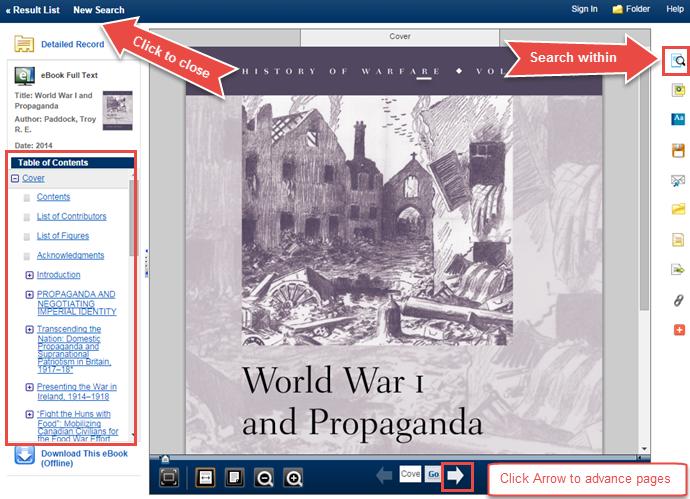 EBSCO eBook screen image showing an eBook