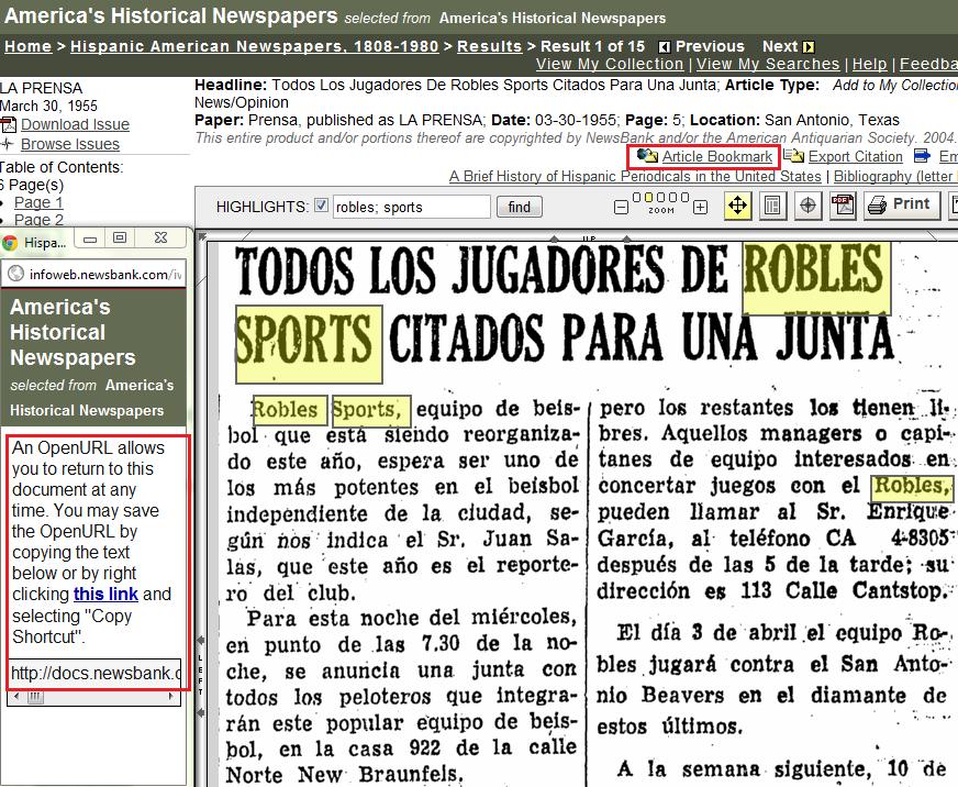 Hispanic American Newspapers persistent link
