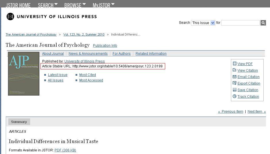 JSTOR persistent link