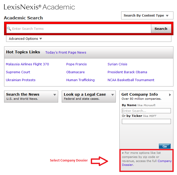 link to the Company Dossier tool in Lexis Nexis Academic