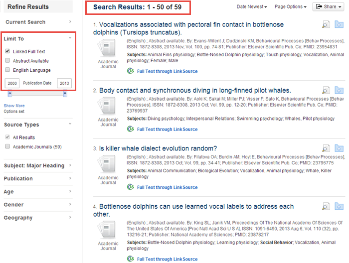 MEDLINE search results example search