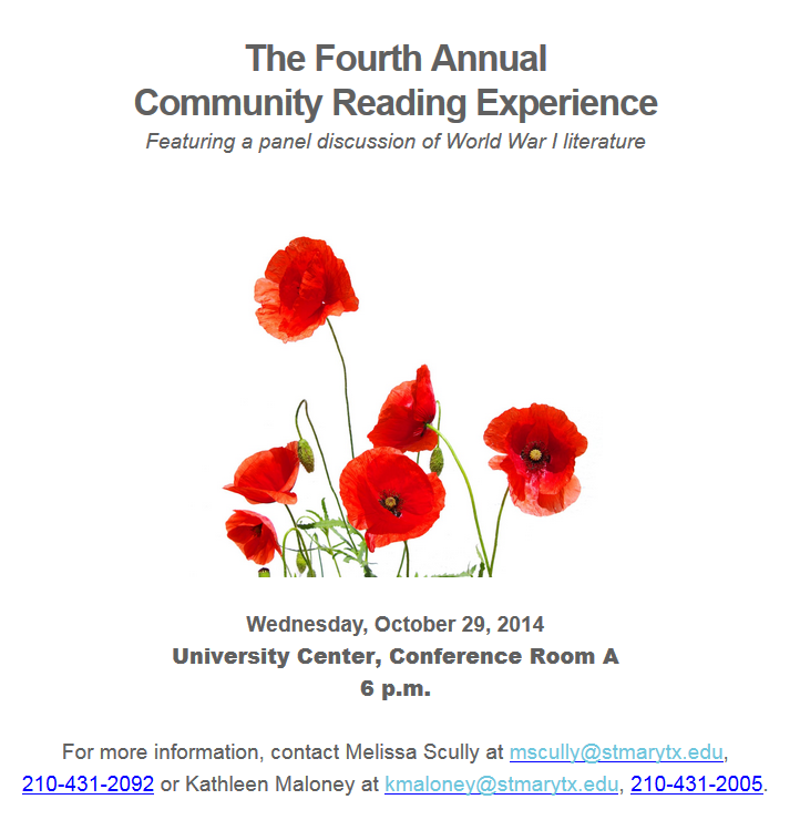 Community Reading Experience flyer 2014 - World War I