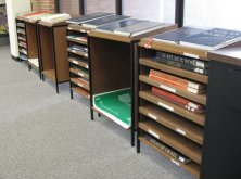 photo of altas cases in the Blume Library