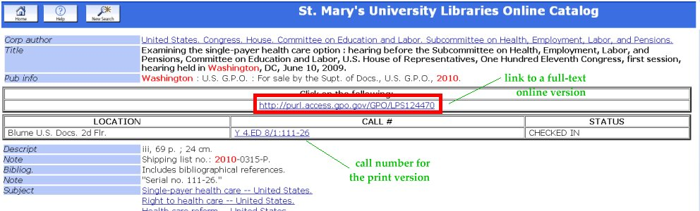 example from the Library Catalog showing a URL / PURL