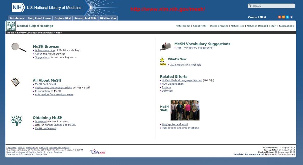 MeSH main page
