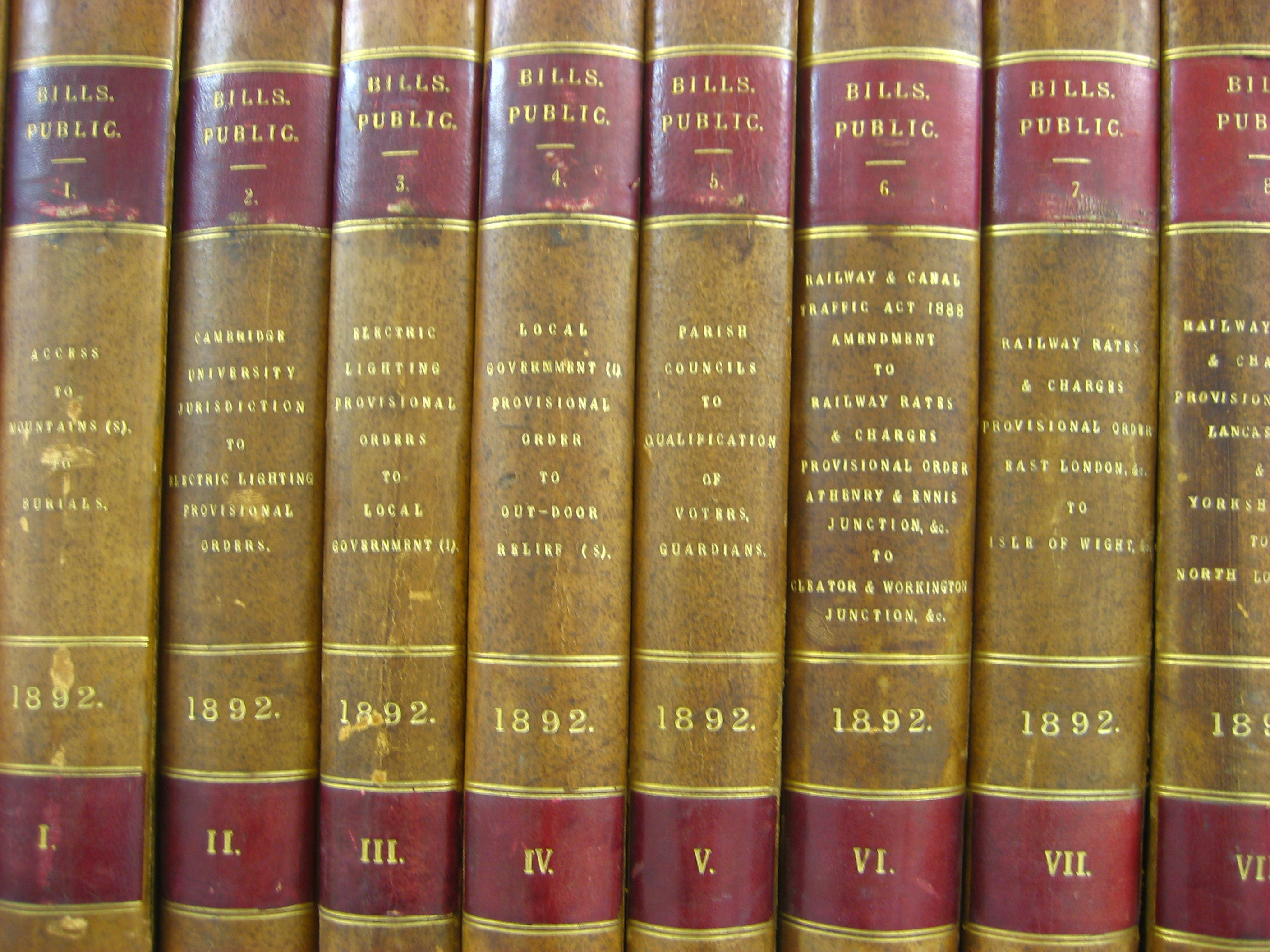 Image shows nineteenth century parliamentary papers in bound volumes on a bookshelf