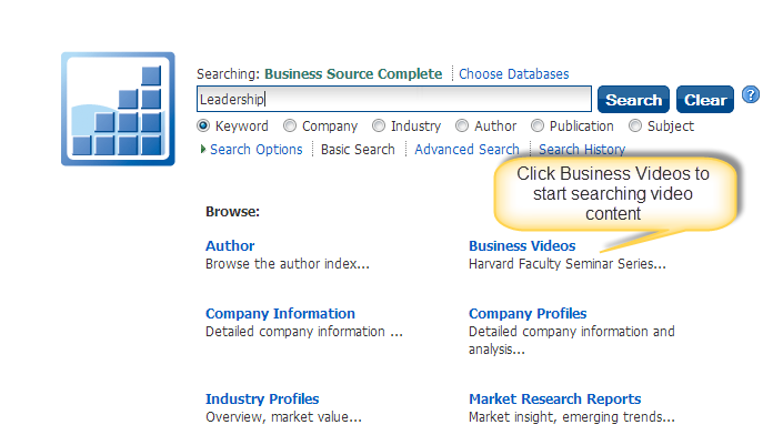 Screenshot of Business Source Complete Video search