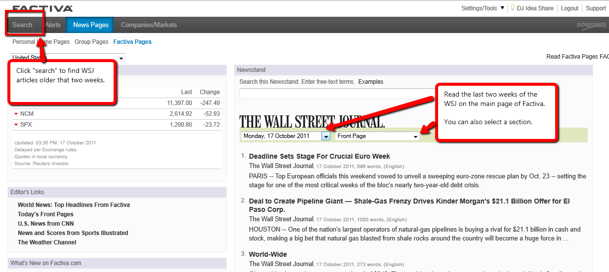  click to view larger. Find WSJ articles dating back 2 weeks on Factiva's News Stand page.  Use the Search feature to find older articles in WSJ.