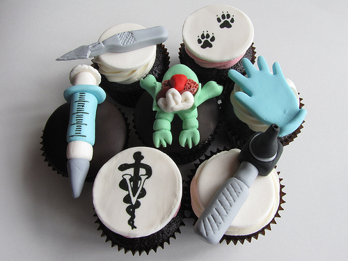 Biology-themed cupcakes
