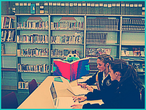 Cookie Monster in the library