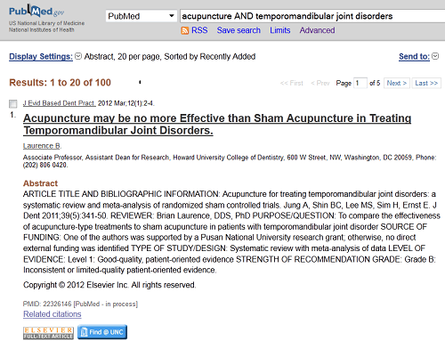 PubMed Article Record in Abstract Dispaly