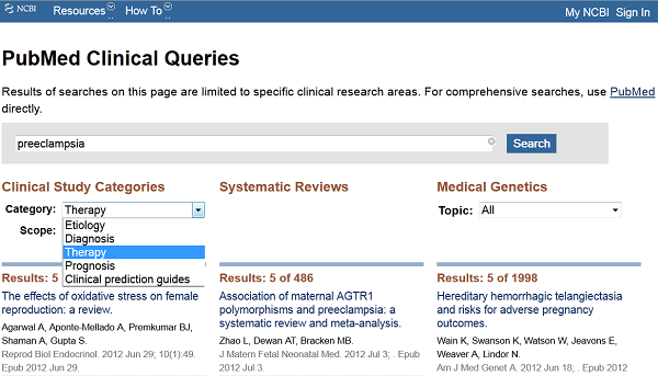 Clinical Queries Screen Shot