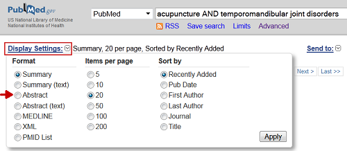 PubMed Display Settings Options