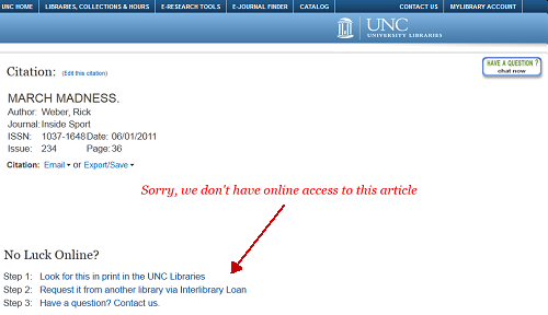 Find@UNC Not Online