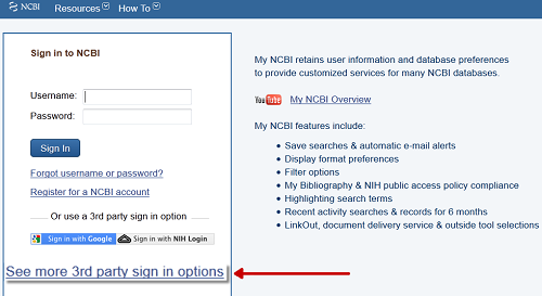 PubMed My NCBI Sign In options
