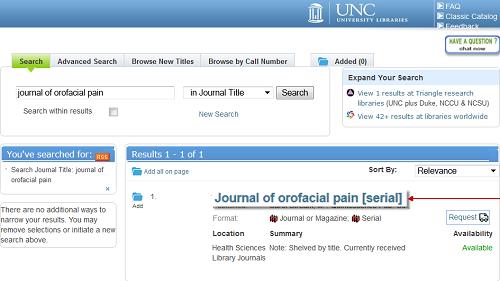 Print Journal Catalog Search