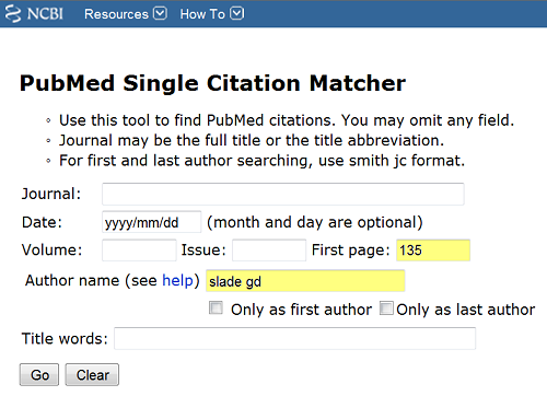 Single Citation Form