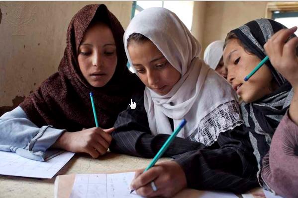 Afghan girls attend class atBamSarai School
