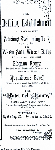 Advertisement for bathing at the Hotel Del Monte