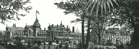 Black and white drawing of the hotel