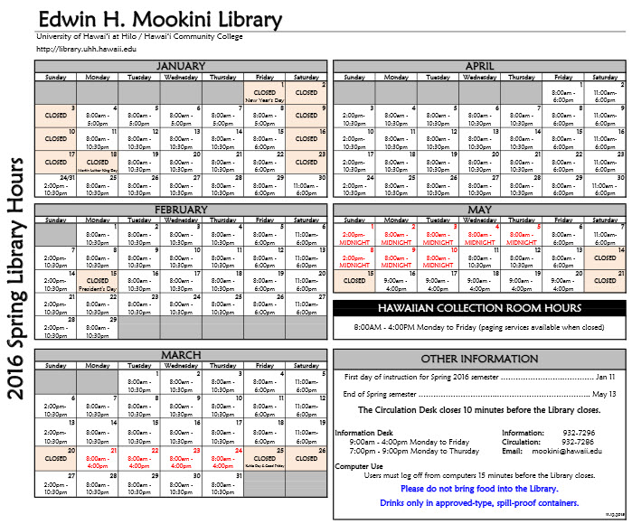 calendar of library hours