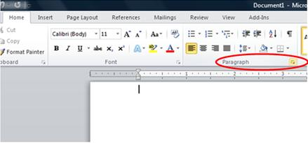 Paragraph settings in Microsoft Word