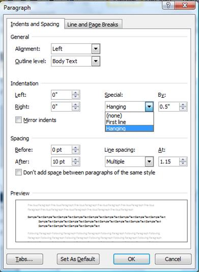 Paragraph options dialog box in Microsoft Word