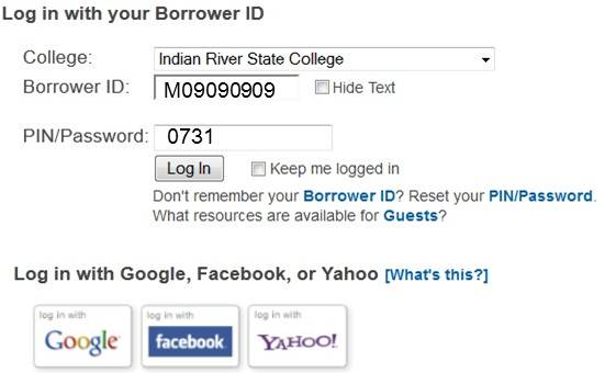Student Database Login (Student ID is used as Borrower ID, PIN is MMDD of birthday)
