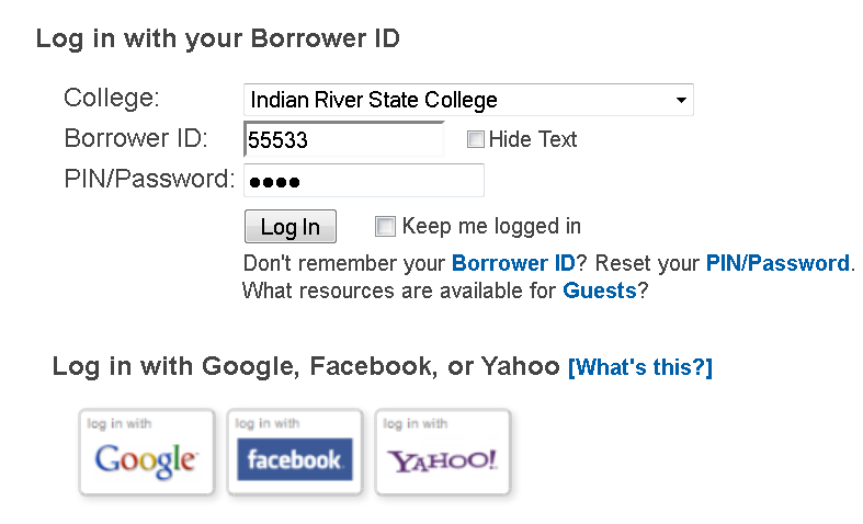 Employee Database Login (Borrower ID is your PID, PIN is MMDD of birthday)